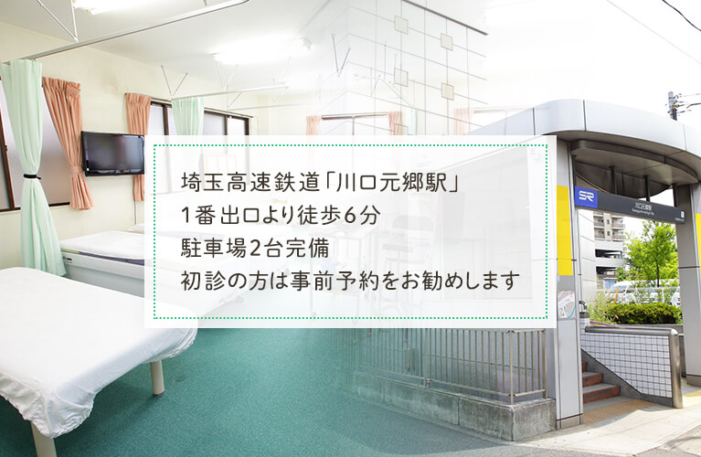 埼玉高速鉄道「川口元郷駅」1番出口より徒歩6分駐車場2台完備初診の方は事前予約をお勧めします